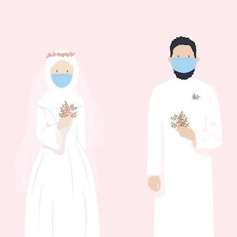 유행성 동안 마스크를 착용하는 동안 결혼하는 귀여운 이슬람 웨딩 커플 프리미엄 벡터