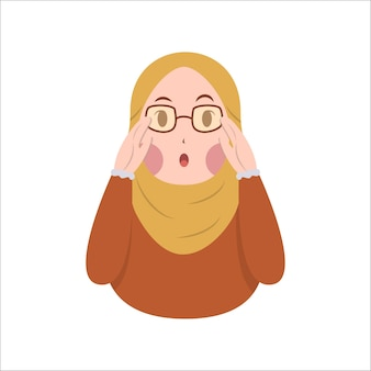 Cute muslim woman hijab wear eyeglass with suprised expression vector illustration
