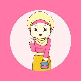 かわいいイスラム教徒の女性のイラスト