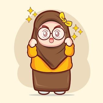 かわいいイスラム教徒の少女興奮して喜んで漫画のキャラクターイラスト