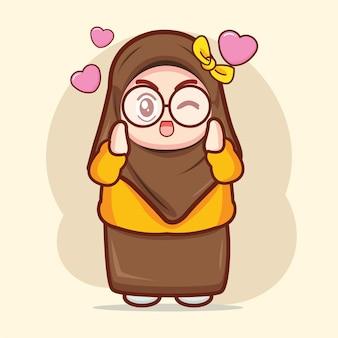 愛の漫画のキャラクターイラストを感じているかわいいイスラム教徒の少女