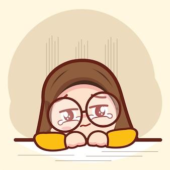 悲しくて泣いているかわいいイスラム教徒の少女漫画のキャラクターイラスト