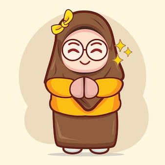 かわいいイスラム教徒の少女が挨拶の手漫画のキャラクターイラストを作る