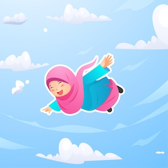 Cute muslimah girl flying in the night sky looking for laylatu al qadr ramadan