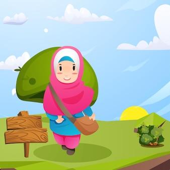 귀여운 무슬림 소녀는 학교에 갈