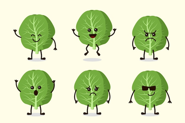 Cute mustard vegetable character isolated in multiple expressions Premium Vector