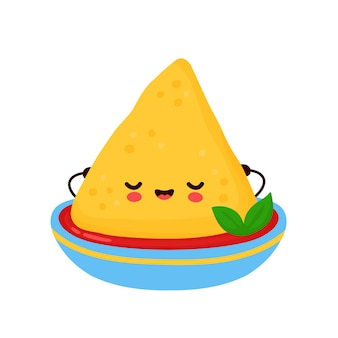 Cute nacho in salsa sauce bowl