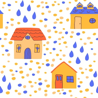 Cute naive houses seamless pattern in hand drawn style
