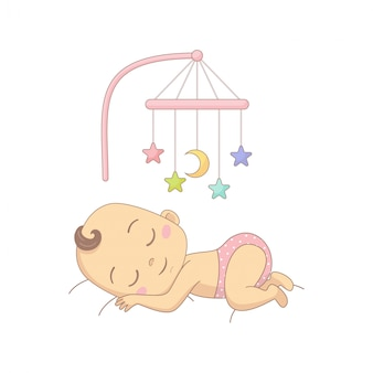 Cute naked baby in a diaper lying in bed and having fun with toy carousel, colorful cartoon character.