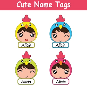 Cute name tags with chicken design
