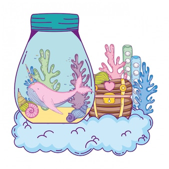 Cute narval in mason jar and treasure chest