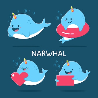 Cute narwhal cartoon characters set isolated on background.