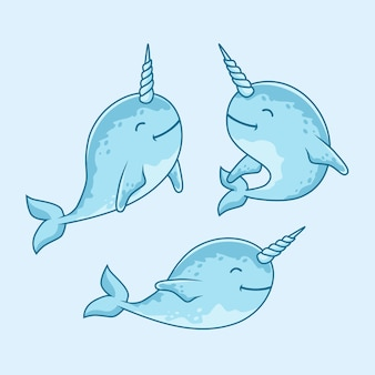 Cute narwhal fish cartoon under water animal set