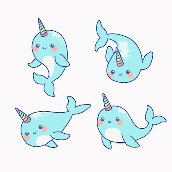 Cute narwhal - the unicorn of the sea set