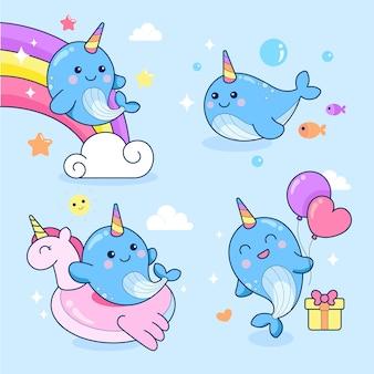 Cute narwhal unicorn sea vector illustration