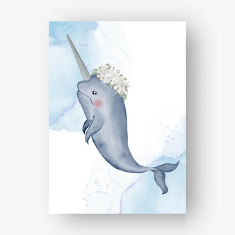 Cute narwhal with flower white watercolor illustration