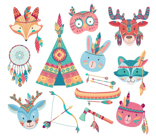 Cute native american or indian animal icons with tribal feather headdresses