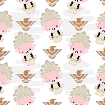 かわいいネイティブアメリカンの豚動物漫画のシームレスパターン