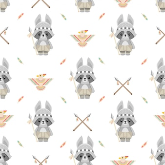かわいいネイティブアメリカンのタヌキ動物漫画のシームレスパターン