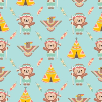 Cute native american sloth animals cartoon seamless pattern