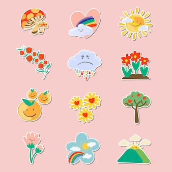 Cute natural doodle sticker set on a pink background Free Vector