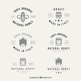 Cute natural honey logotypes in linear style