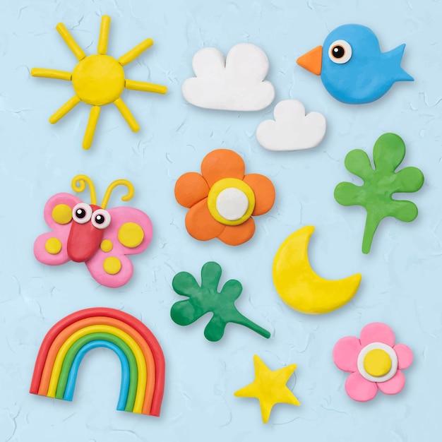 Grafica colorata artigianale di argilla secca vettoriale di natura carina per set di bambini