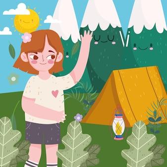 귀여운 자연 소녀 캠핑