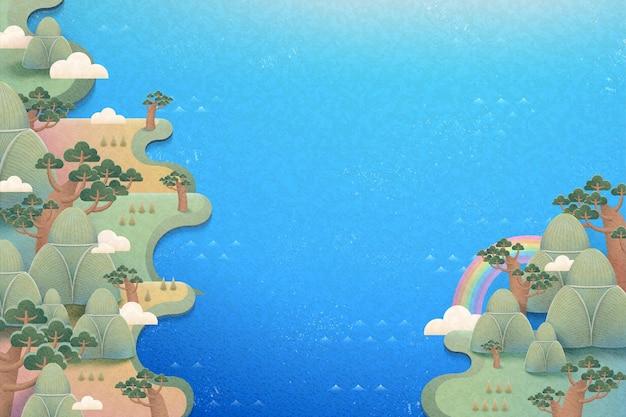餃子山と川のかわいい自然の風景