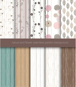 Cute nature and wood background seamless patterns
