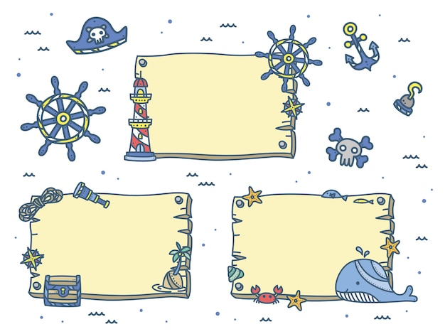Cute nautical and marine background for kids