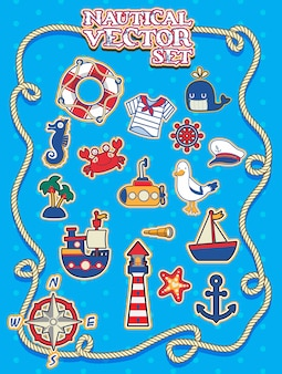 Cute nautical vector set