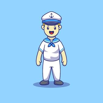 Cute navy marine boy flat illustration
