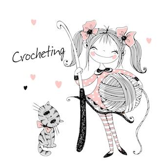 彼女の手にかぎ針編みのフックを持つかわいい針編みの女の子。ベクター。
