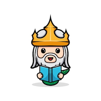 かわいいネプチューン読書本、海王マスコット Premiumベクター