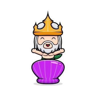 貝殻の後ろで手を振っているかわいいネプチューン、海の王のマスコット