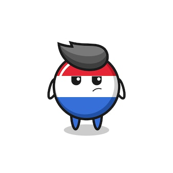의심스러운 표정을 가진 귀여운 네덜란드 국기 배지 캐릭터, 티셔츠, 스티커, 로고 요소를 위한 귀여운 스타일 디자인