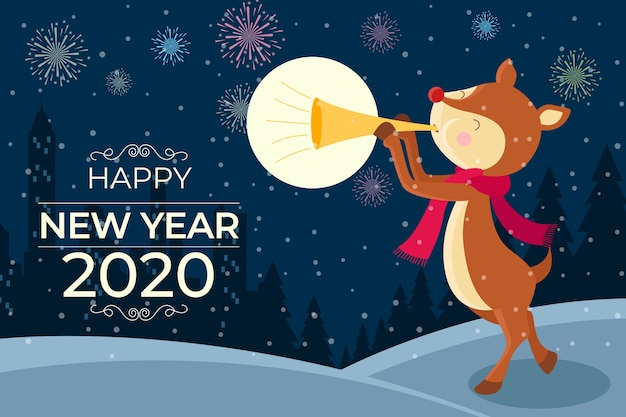 Cute new year 2020 background in flat design