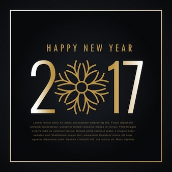 Cute new year background 2017 with golden snowflake