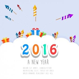 Cute new year card of 2016
