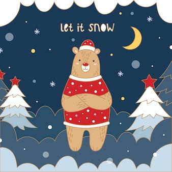 빨간 스웨터와 모자에 귀여운 새해 곰. 크리스마스 트리, 눈, 눈송이, 달, 눈 더미.