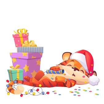 Милый новогодний мультяшный тигр в шапке санта-клауса
