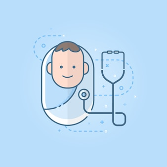 Cute newborn baby icon with the stethoscope