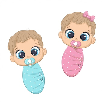 Cute newborn girl and boy.  illustration for baby shower, greeting card, party invitation, fashion clothes t-shirt print.