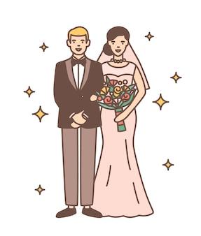 귀여운 신혼 부부 절연입니다. 행복 하 게 웃는 신부 및 신랑 함께 서의 초상화. 낭만적 인 결혼식 축하
