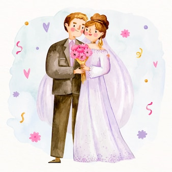 かわいい新婚夫婦と花の花束