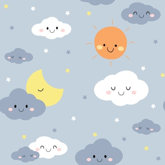 Cute night sky cloud star cartoon doodle seamless pattern
