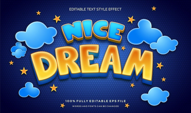 Cute night theme colorful kids editable text style effect