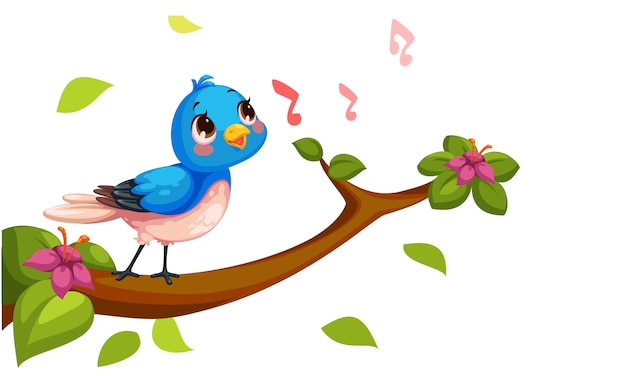 Cute nightingale singing cartoon vector
