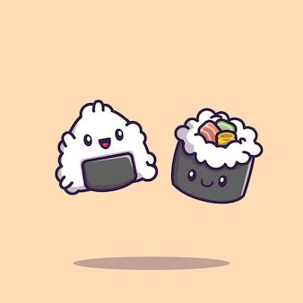 Симпатичные нигири суши с маки ролл мультфильм значок иллюстрации. изолированная концепция значка еды суши. плоский мультяшный стиль